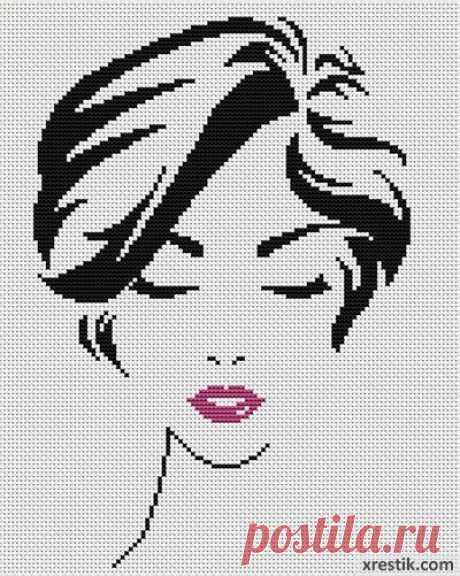 Стильная девушка №5  Размер в крестиках:... / Рукоделие / Схемы для вышивки монохромных девушек / Pinme.ru