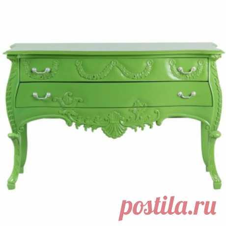 Комод зеленого цвета с резным декором. Дизайнерские комоды купить в Москве - необычные комоды, цена в интернет-магазине ForestGum