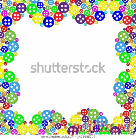 Children's colored button frame. Stock Vector Illustration.