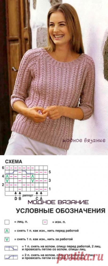 Пуловер рельефными косами - Modnoe Vyazanie ru.com