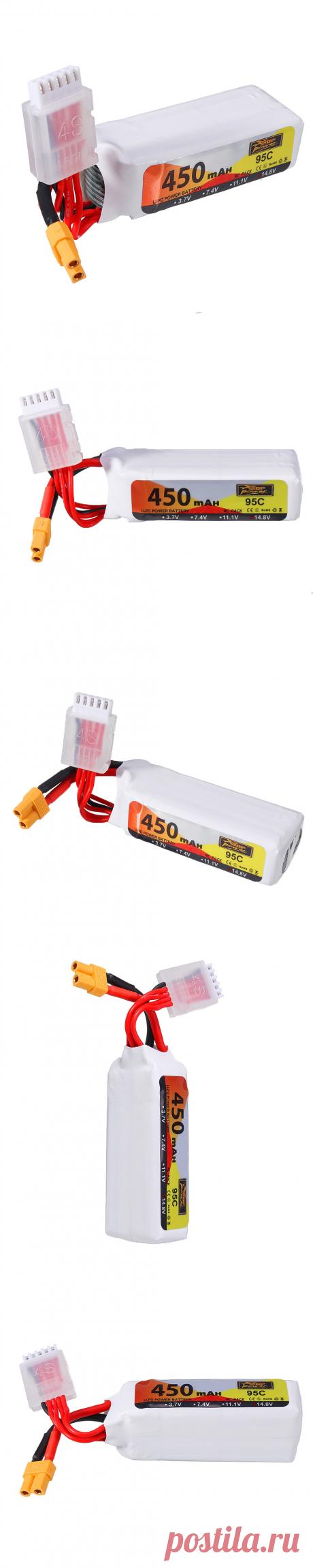 zop power 14.8v 450mah 95c 4s lipo battery xt30 plug for 90-150 sizes multirotor fpv drone Sale - Banggood.com