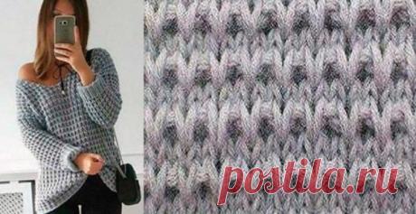 Крупный узор для вязания пуловера спицами…