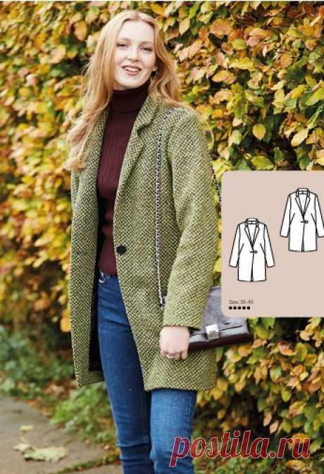 Выкройка женского пальто Размеры 36-46 Евро источник https://alltomhandarbete.se