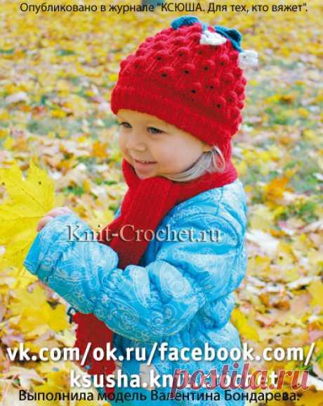 Вязанные на спицах шапочка, шарфик и варежки для девочки 2-3 лет.