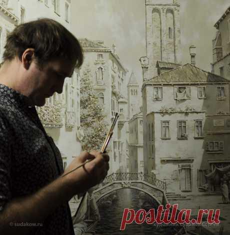 Роспись стен Венеция 🌼 Монохромный рисунок 2,4х1 метр, работа делалась на холсте. Краски акрил 2017г. По проекту полотно с рисунком монтировал на дверцы шкафа-купе.