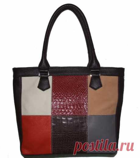 Кожаная сумка в стиле Печворк