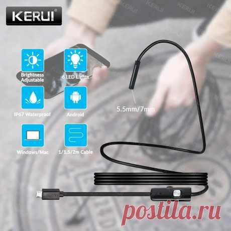 KERUI мини эндоскоп камера 7 мм/5,5 мм USB камера для Android эндоскоп Инспекционная камера бороскоп Водонепроницаемый 6 светодиодов регулируемый