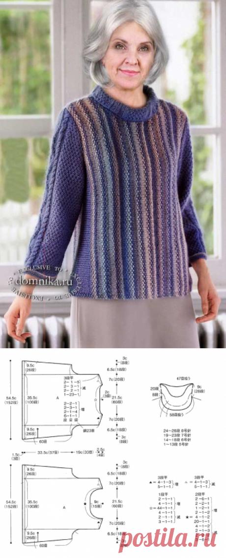 Вязаный джемпер спицами для женщин старше 60 лет - 5 женских пуловеров