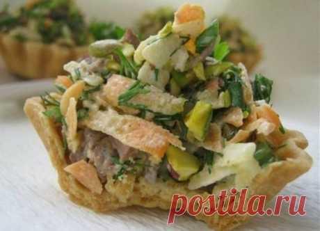 Как приготовить корзиночки с мясным салатом - рецепт, ингридиенты и фотографии