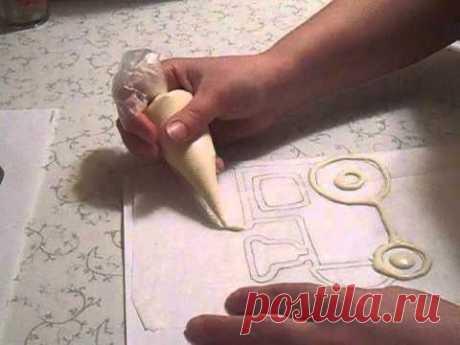 Как сделать шоколадную картинку на торт. Шоколадный паровозик. - YouTube