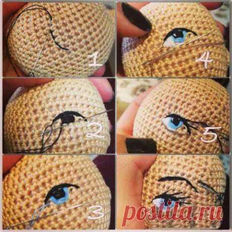 Вышивка глаз игрушке на готовой головке