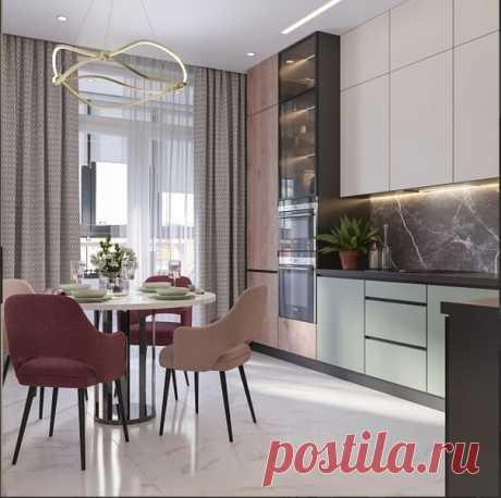Кухня, гостиная в московской квартире