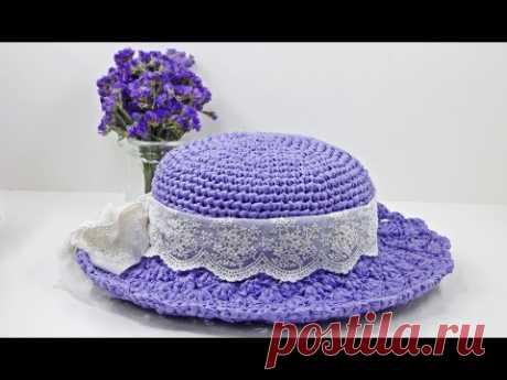 (코바늘 모자뜨기)how to a crochet Summer hat/도안설명 있습니다.