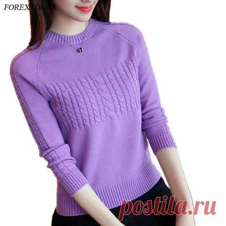 Forextolux 2020 осень зима корейский новый женский Лавандовый свитер однотонный круглый вырез базовый вязаный пуловер женский модный реглан трикотаж|Водолазки| Детские жаккарды| роспись по ткани | готовые выкройки |