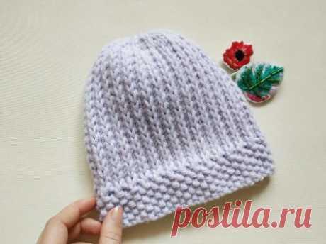 Плотная шапка на зиму простым узором на основе лицевой глади » «Хомяк55» - всё о вязании спицами и крючком