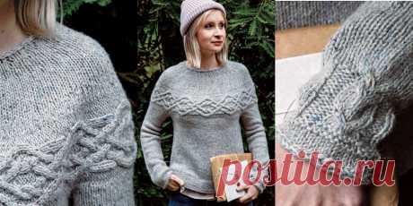 Пуловер с поперечными аранами Owl Post - Вяжи.ру