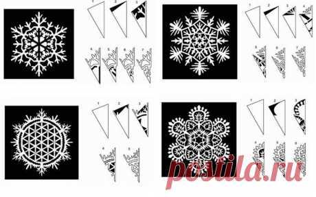20 схем для вырезания снежинок из бумаги