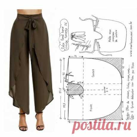 Выкройка брюк Палаццо(все размеры)