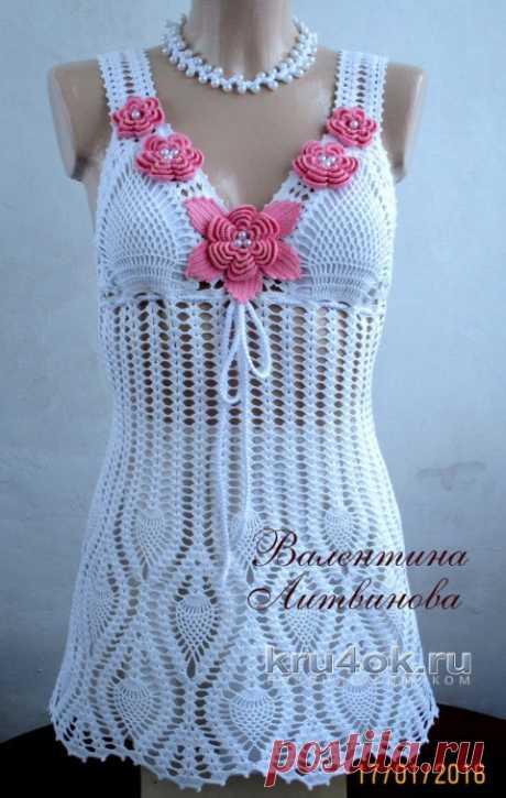 Платье для пляжа Розочка, связано крючком. Работа Валентины Литвиновой