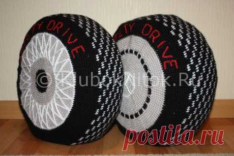 Pillows in the form of wheels for darling. Hook. Schemes. \/ kluboknitok.ru