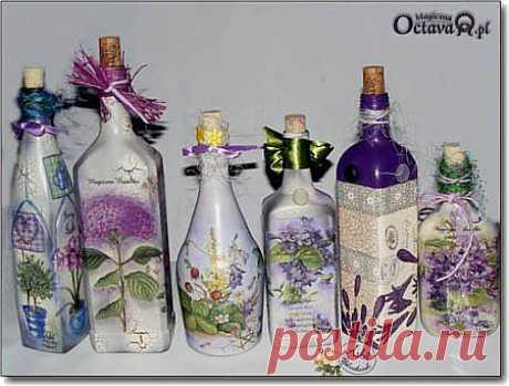 Декор бутылок в технике декупаж