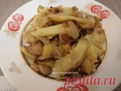 Жареная Картошка с Луком и Мясом на сковороде. Простой и быстрый рецепт приготовления