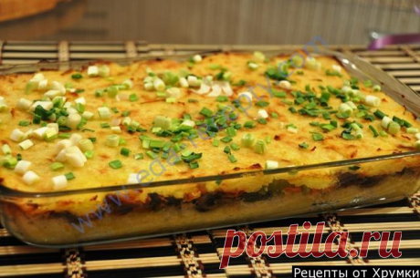 Potato baked pudding with mushrooms fast