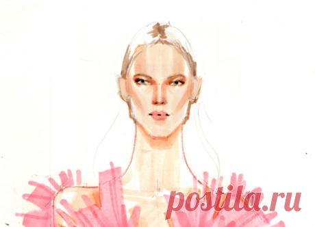 После того, как зальете губы розовым цветом, поставьте три точки на губах — по бокам и по центру — таким образом мы намечаем разрез рта.