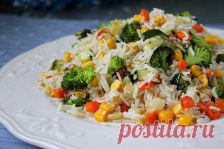 Рецепт риса с овощами на гарнир / Меню недели