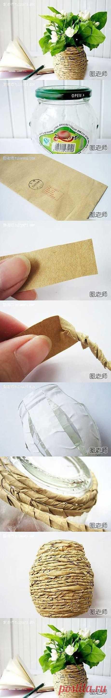Как использовать переработанный материал, чтобы сделать вазу с цветами | Лаборатория бытовые