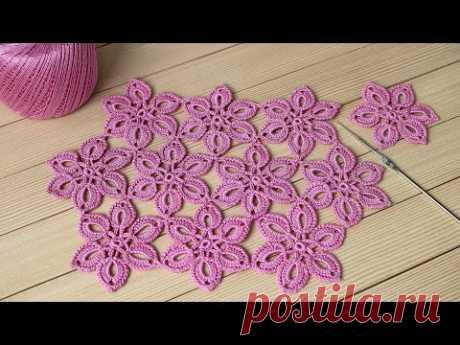ЦВЕТЫ крючком МАСТЕР-КЛАСС соединение мотивов ЦВЕТОЧНЫЙ УЗОР DIY Tutorial EASY Crochet flower