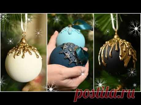 Новая жизнь дешевых елочных шаров / Переделка Фикс Прайс - YouTube