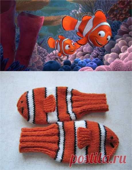 Las manoplas del arrecife de coral. Pienso en invierno calentarán mejor, todo taki de los países cálidos rybki.
