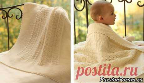 Детское одеяло спицами и крючком | Вязание спицами аксессуаров Вязаное одеяло - олицетворение уюта и заботы. Чтобы ваш малыш не мёрз  и постоянно чувствовал вашу заботу, предлагаем вам связать детское  одеяло от студии Drops Design спицами и крючком.Размер: 65x80 смПряжа: шерсть; 50 г/105 м - 400 гПлотность вязки: 20п.x26 р. лиц. гладь = 10x10...