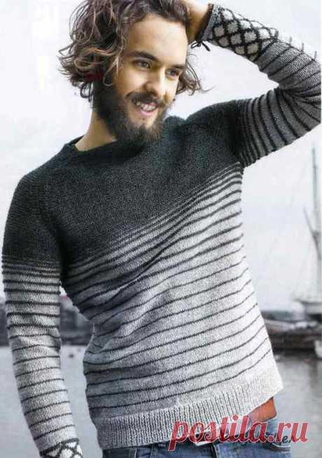 Мужской вязаный пуловер реглан.
