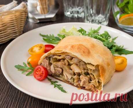 Штрудель с курицей и грибами | Вкусный блог - рецепты под настроение
