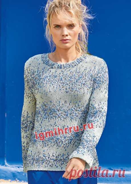 Пуловер из фасонной пряжи с «шишечками». Вязание спицами со схемами и описанием