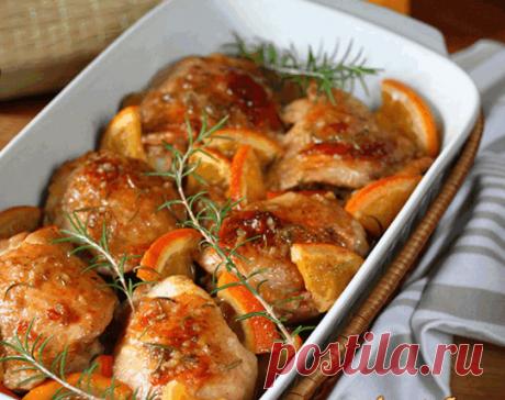 Курица запеченная в апельсиновом соусе с розмарином | Самые вкусные кулинарные рецепты