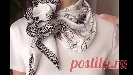 Девчата, учитесь, как носить платочки на шее