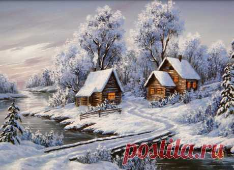 Оригинал схемы вышивки «zimowy wieczór nad rzeczką» - Вышивка крестом