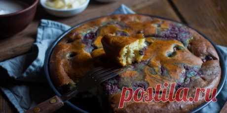 Быстрый вишнёвый пирог на кефире