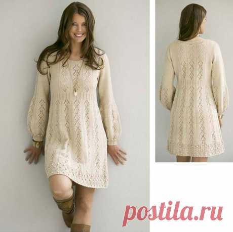 Теплое платье «Нежность в простоте» с длинным рукавом спицами – схемы вязания с описанием