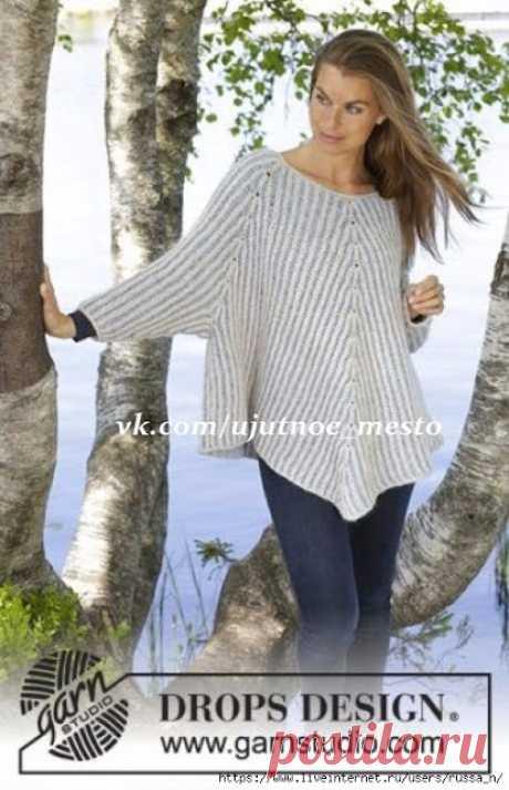 Пуловер-пончо спицами от Drops Design (6 размеров)  Пуловер-пончо резинкой бриошь  РазмерыS - M - L - XL - XXL - XXXL