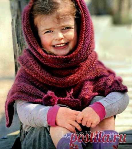 Детское Пончо и шарф-хомут схема спицами » Люблю Вязать