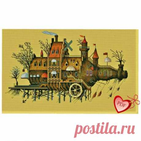 Flying House Cross Stitch Picture, Bottle Cross Stitch Pattern, Cross Stitch Fantasy, Cross Stitch Fairy Pattern, Xstitch, Flying Ship Art Absolutely fantastic flying house, flying residential ship. Hand-made cross-stitch pattern in a trendy steampunk style. Despite the apparent complexity and many small details, embroidery is performed quite easily only with full crosses. In cross-stitch, all other seams are missing: backstitch,