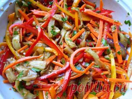 Салат из перца, баклажанов и моркови по-корейски