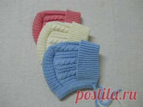 Чепчик с завязками для малыша » Вязание, вязание спицами, вязание крючком, Схемы вязания, вышивание, макраме, бисероплетение - все это на нашем сайте