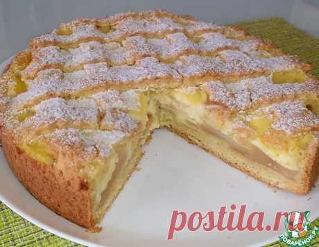 Песочный пирог с яблоками и заварным кремом – кулинарный рецепт