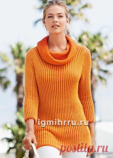 Пуловер с двухцветным патентным узором. Вязание спицами со схемами и описанием