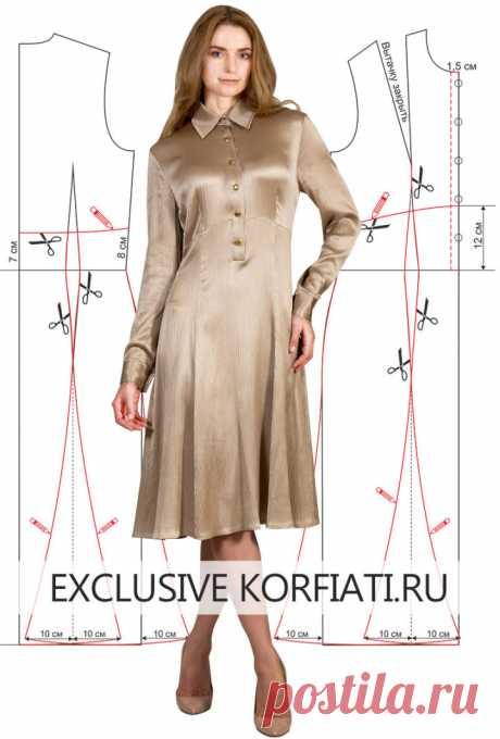 Выкройка платья с воротником на стойке от Анастасии Корфиати